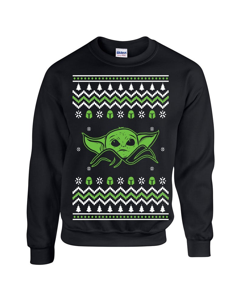 Green and White Baby Yoda Sweater
