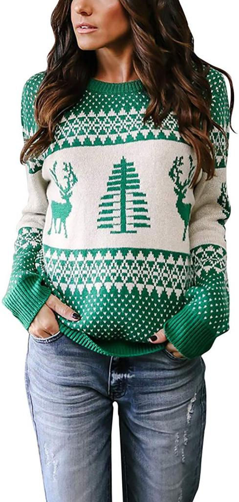 Holiday Patterns Reindeer Tree Knit Pullover