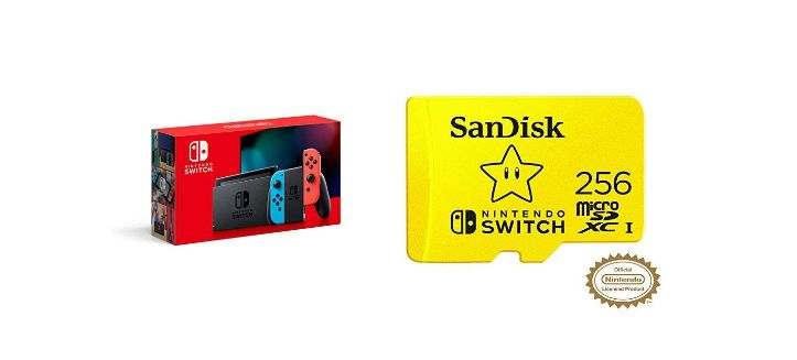 Nintendo Switch, Joy-Con and SanDisk 256 GB