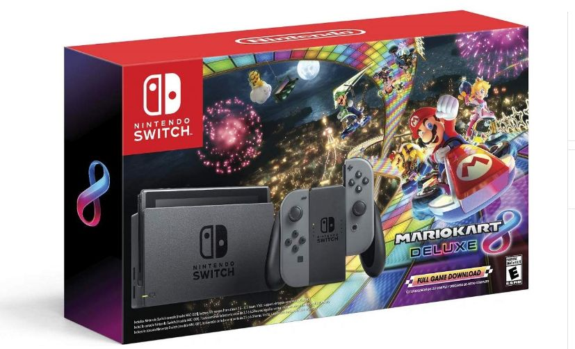 Nintendo Switch with Gray Joy-Con plus Mario Kart 8 Deluxe