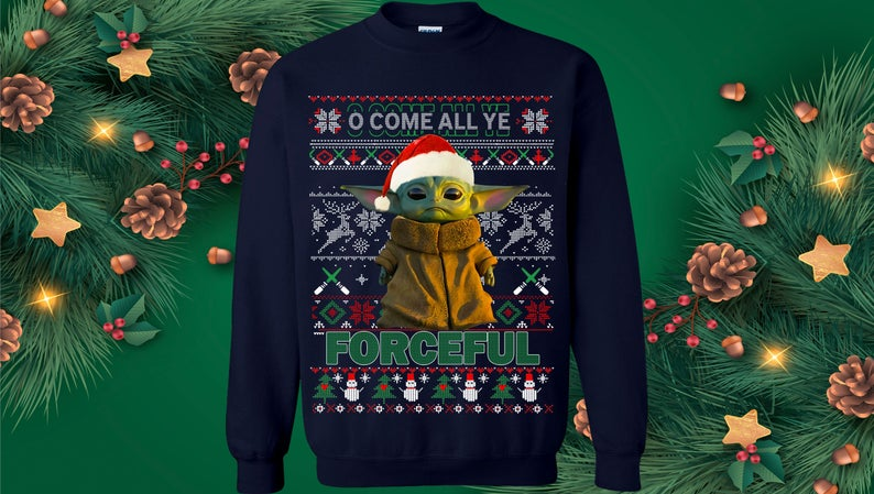 blue baby yoda ugly christmas sweater