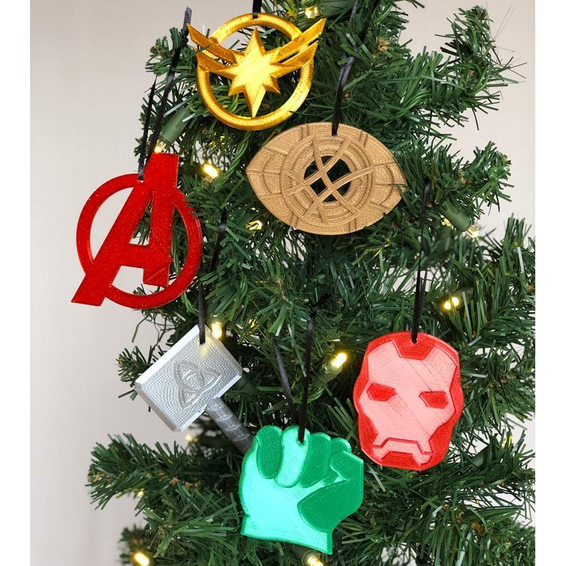Super Hero 2 Christmas Ornament 6 Piece Set