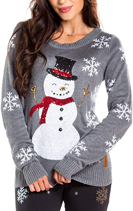 Women's Sequin Snowman Christmas Sweater