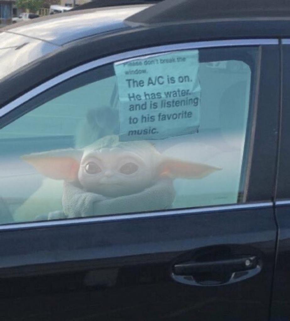 baby yoda in a car meme