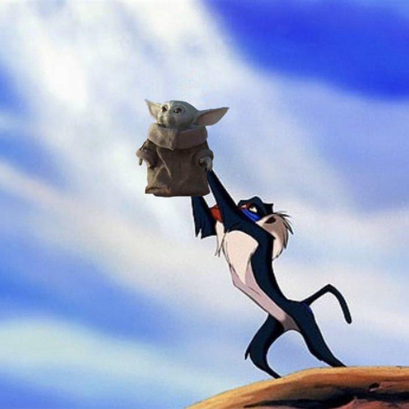 baby yoda lion king meme