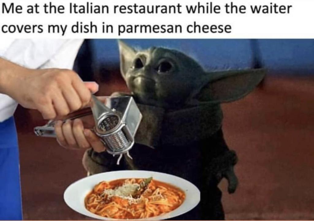 baby yoda in Italian restaurant meme