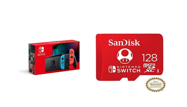 Nintendo Switch, Joy?Con, and SanDisk 128 GB Micro SDXC Card