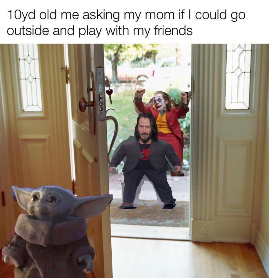 baby yoda meme with friends
