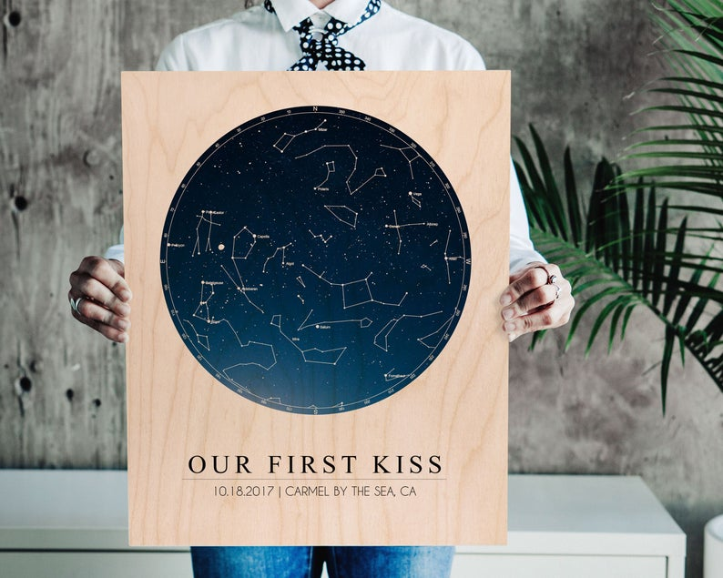 cool personalized star map wood print as a gift idea
