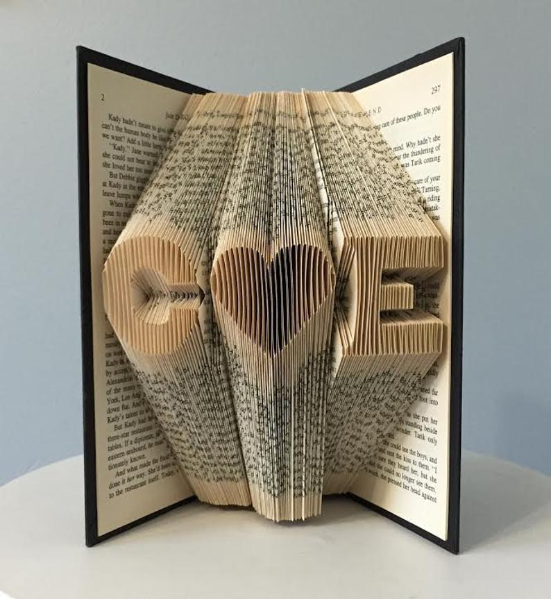 book folded art for valentine's day
