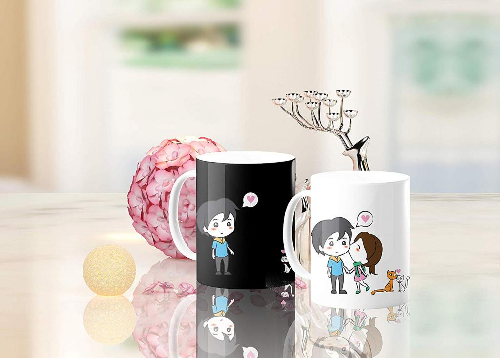Mug with cartoon lovers for valentines day