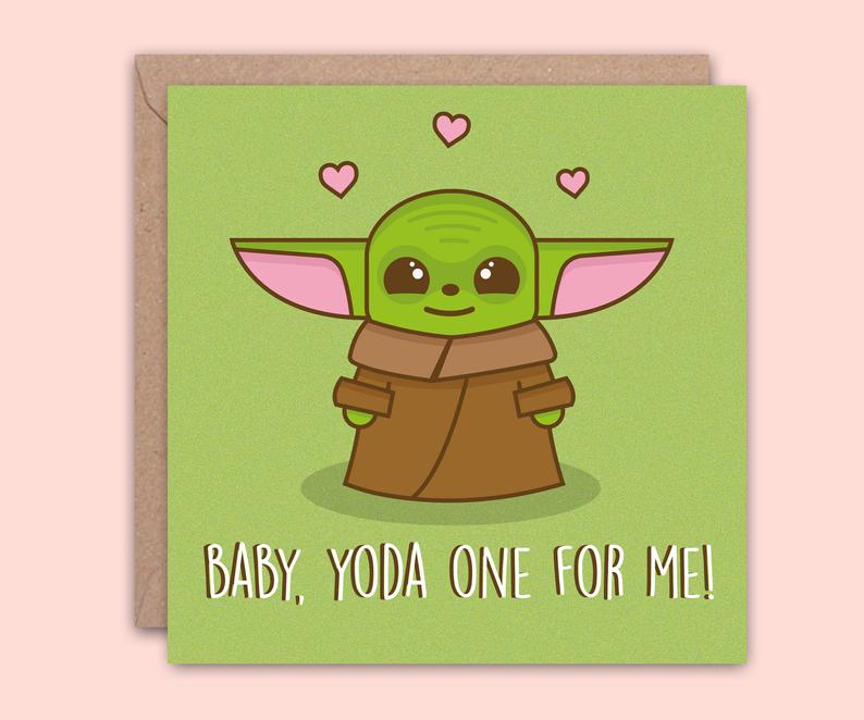 cute baby yoda valentine's day card