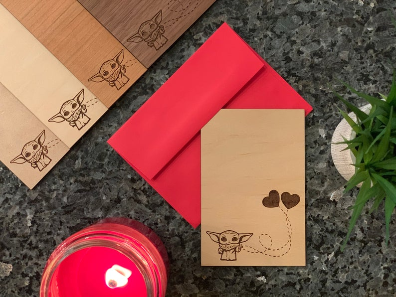 cool wooden baby yoda valentine's day card