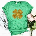Golden clover in a Green St Patrick's Day Shirt