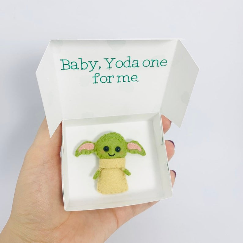 Yoda One For Me Valentine's Day Card Baby Yoda in a Box