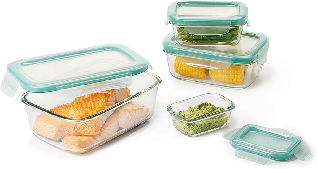 OXO 11179400 Good Grips Smart Seal Leakproof Glass Food Storage Container Set