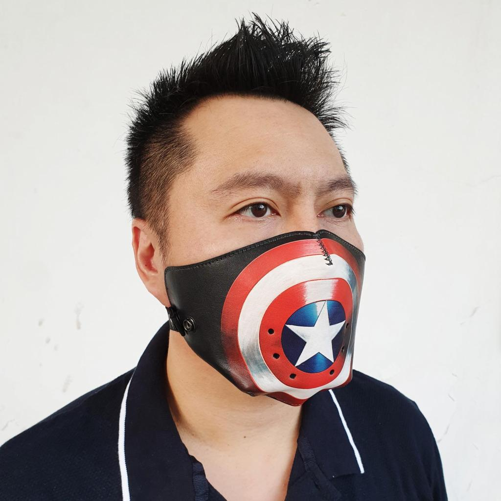 Leather Face Mask for Captain America Fans