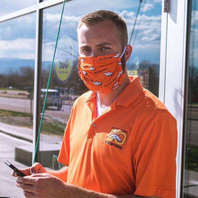 Fiery Denver Broncos Face Mask