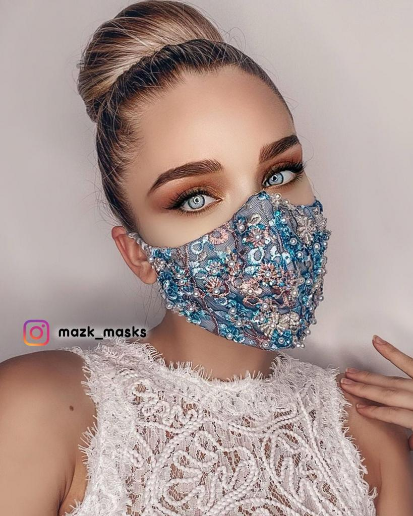 Luxury Face Mask with Hand Embroidery, Pearls, and Beads