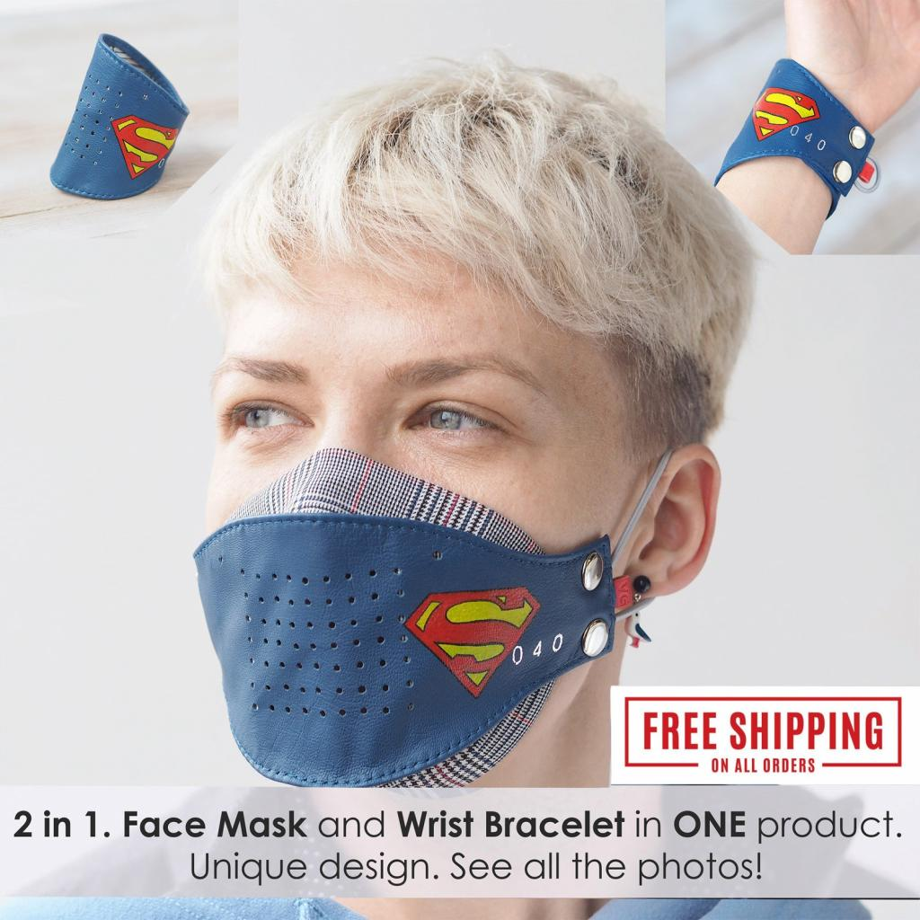 Pure Cotton and Leather 2-in-1 Face Masks