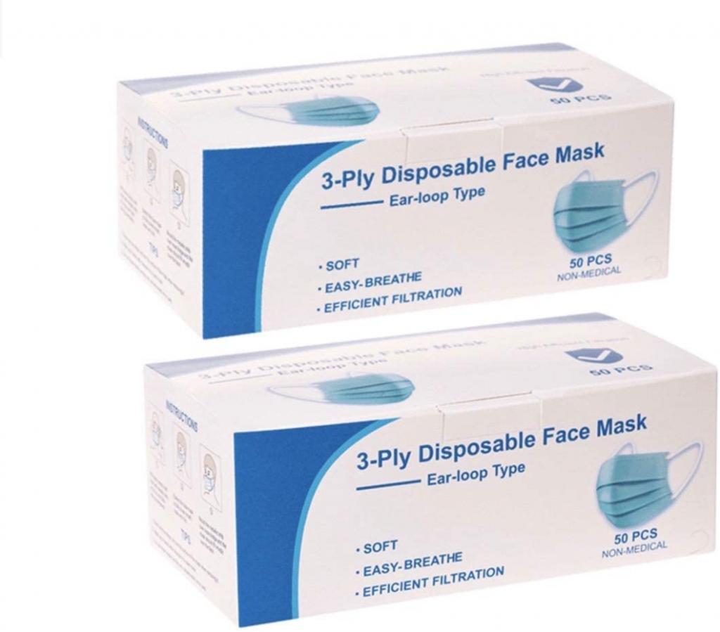 100 PCS 3-Ply Universal Dust-proof Face Masks