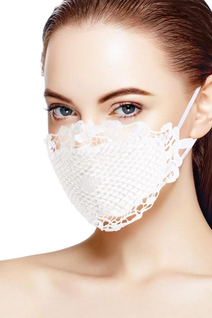 White Crochet Lace Wedding Mask