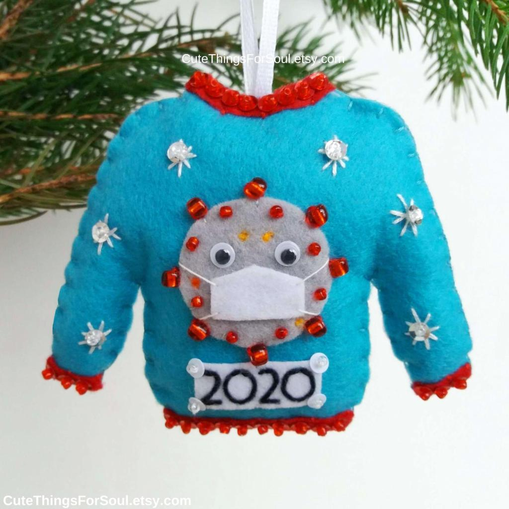 Truly ugly Covid Christmas sweater ornament