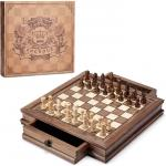 AMEROUS-Magnetic-Wooden-Chess-Set-12.822-x-12.822-Chess-Board-Game-with-2-Built-in-Storage-Drawers